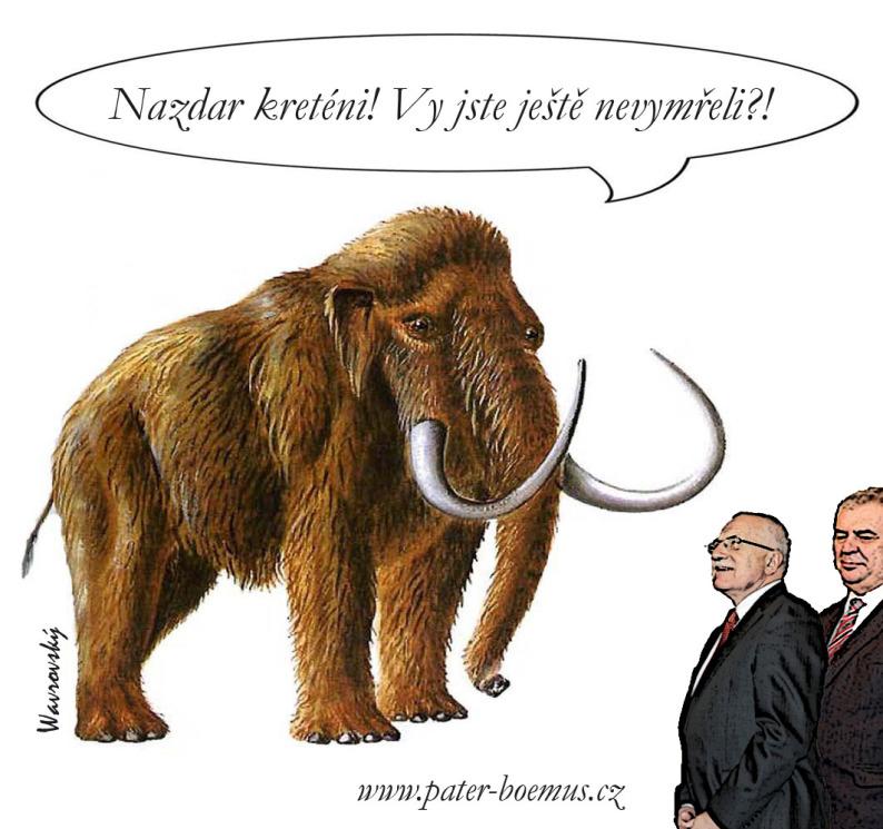 Pater Boemus, humoristický vzdělávací magazín, Wavrovský, Společnost bratranců Veverkových, Sestřenice Veverkovy, mamut, Štorch, lovci mamutů, nazdar kreténi, Klaus a Zeman
